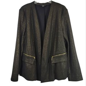 Alfani Size L Blazer Jacket Black and Gold Clear Skies Pockets New with Tags